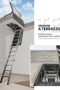 Scala retrattile a terrazzo a norma per tetto piano – B3/T