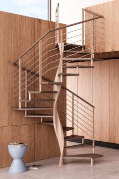 Scala a chiocciola elicoidale con gradini in legno